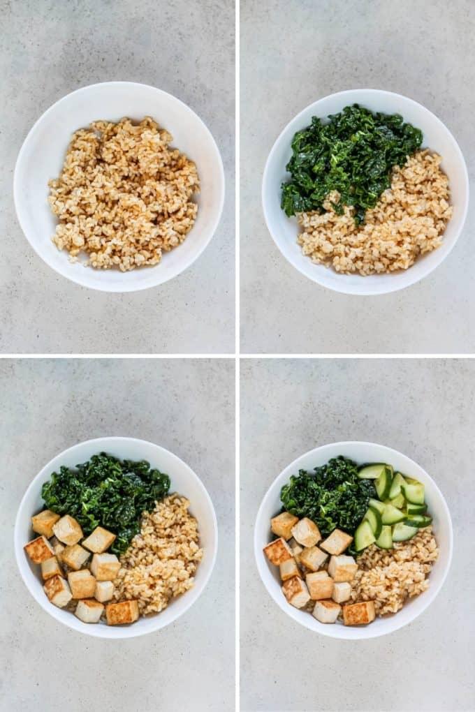 photo collage for making a vegan poke bowl
