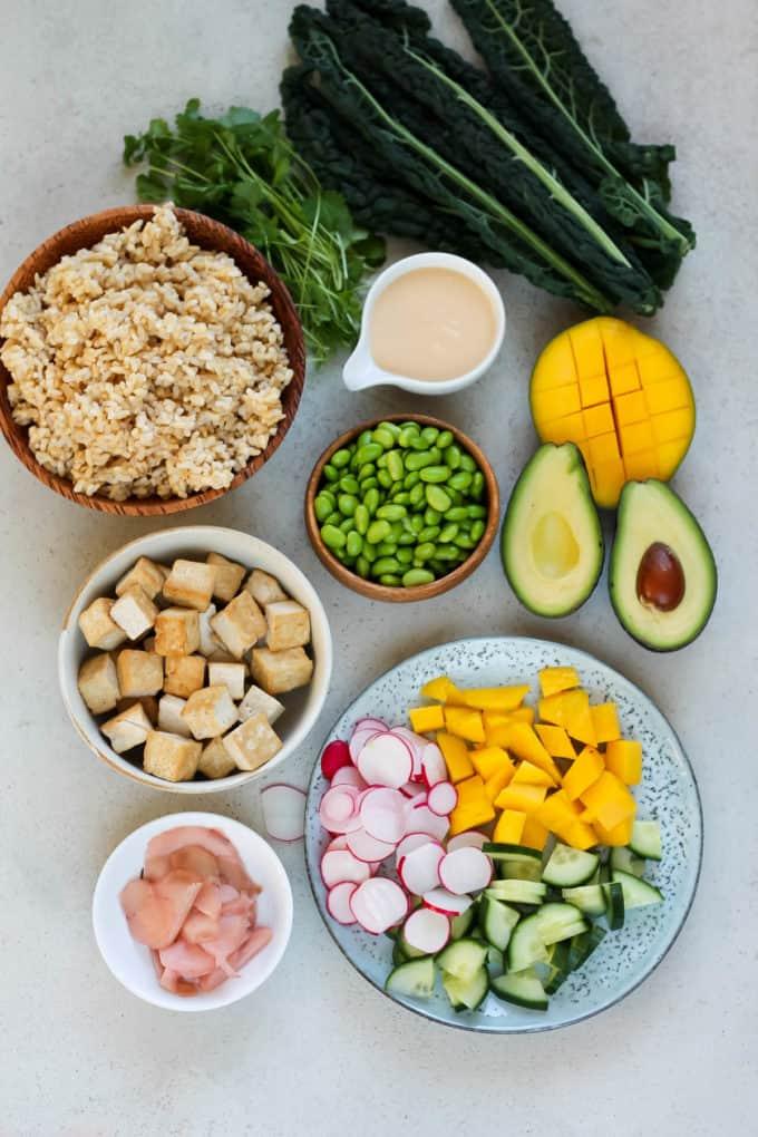 kale, tofu, brown rice, avocado, mango, edamame, ginger, cucumber, and radish on a grey background