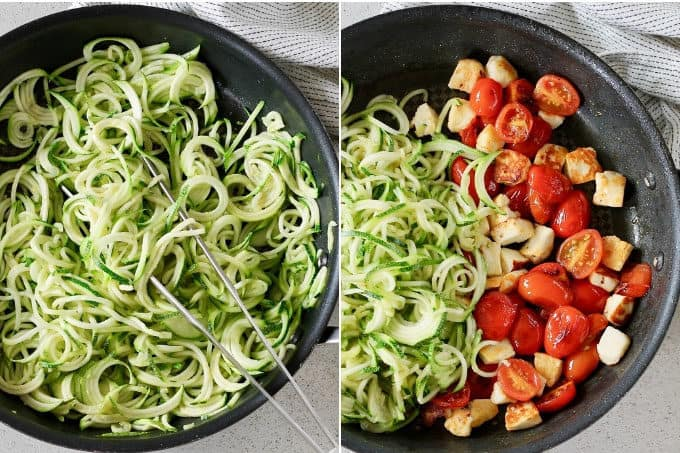 process shots of warm zucchini noodle salad