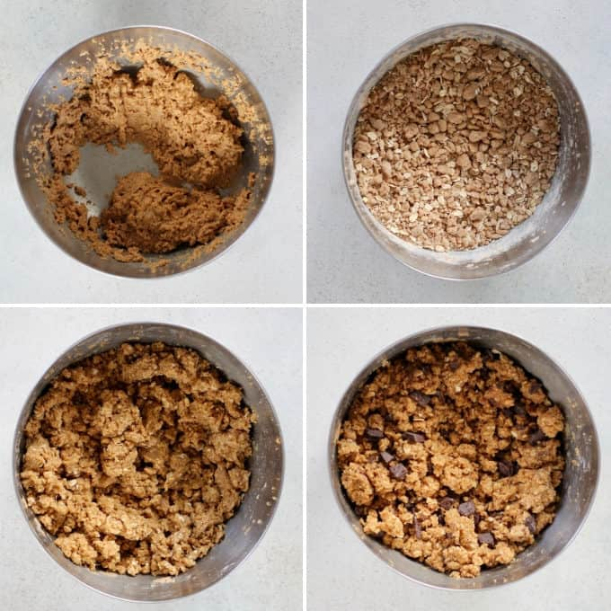 process shots of peanut butter oat bars being made in a metal bowl
