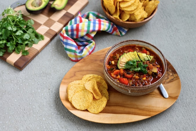 three-bean & quinoa chili