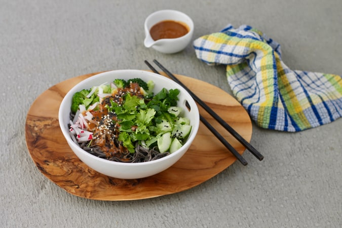 black bean noodle bowls with spicy sesame sauce