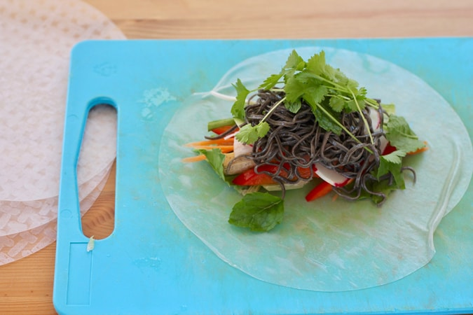 rice paper on a blue cutting board topped with vegetables, tofu, noodles, and herbs