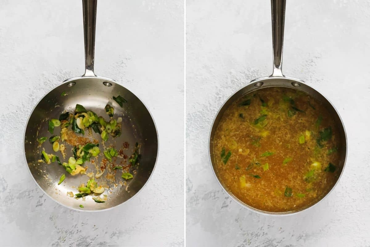 photo collage of vegetable ramen broth with miso being made in a metal pot