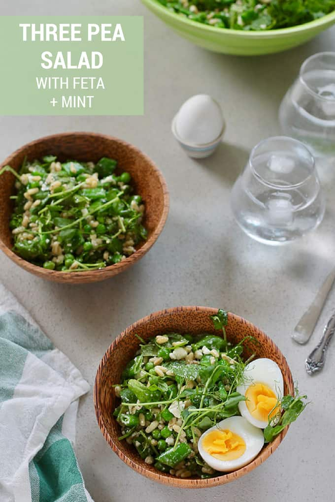 Three Pea Salad with Feta and Mint! This fresh seasonal salad is crunchy, delicious, and healthy. The whole family is bound to love this easy recipe! #salad #peas #healthy #easy #vegetarian #feta #mint