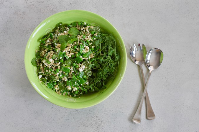 three pea salad with feta and mint // www.heynutritionlady.com