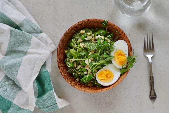 three pea salad with feta and mint // www.heynutritionlady.com