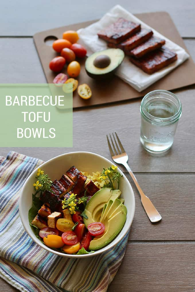 Barbecue Tofu Bowls! These quick and easy bowls feature crisp barbecue tofu that's extra chewy and flavourful thanks to a three-step approach. A simple vegan grilling option perfect in sandwiches or bowls. #vegan #vegetarian #tofu #barbecue #bowls #healthy #easy #recipe #grilling #summer