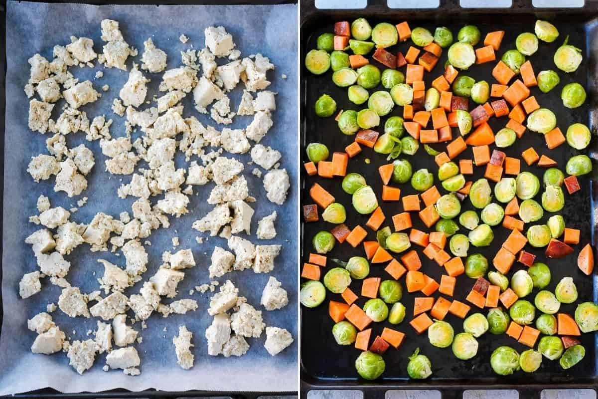 photo collage with tofu and vegetables on a sheet pan ready to be roasted