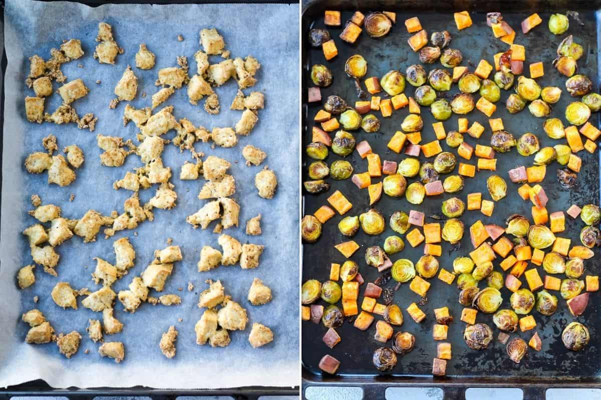 photo collage with baked tofu and roasted vegetables on a sheet pan