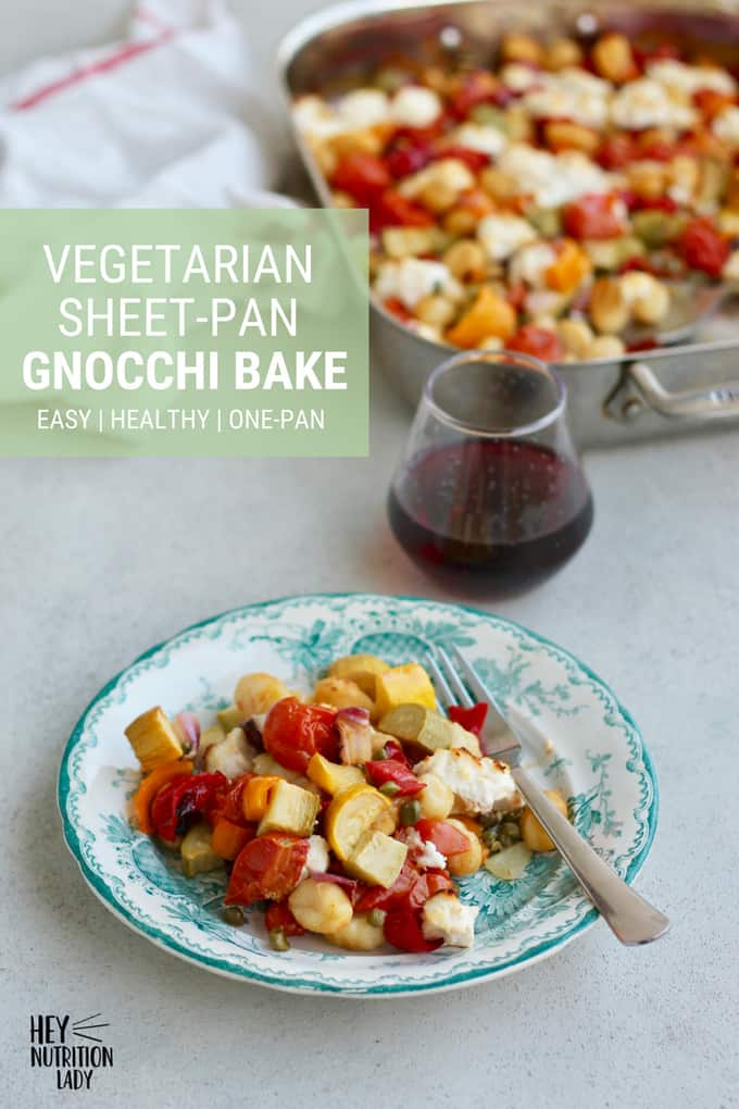 This Vegetarian Sheet-Pan Gnocchi Bake is easy, healthy, and delicious! Gnocchi gets tossed in a pan together with fresh vegetables, capers, and ricotta and then baked in the oven to bubbly perfection. Easily made vegan or gluten-free, this is a meal the whole family will love! #recipe #vegetarian #easy #healthy #gnocchi #baked #ricotta #zucchini #tomatoes #oven #vegan #gluten-free