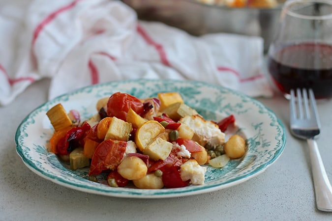 one-pan vegetable gnocchi bake with ricotta: a vegetarian sheet pan dinner // www.heynutritionlady.com
