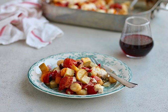 one-pan vegetable gnocchi bake with ricotta