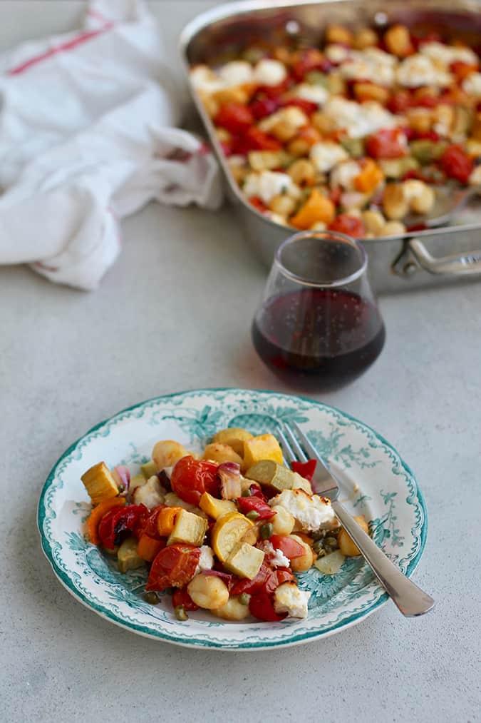 one-pan vegetable gnocchi bake with ricotta: a vegetarian sheet pan dinner // themuffinmyth.com