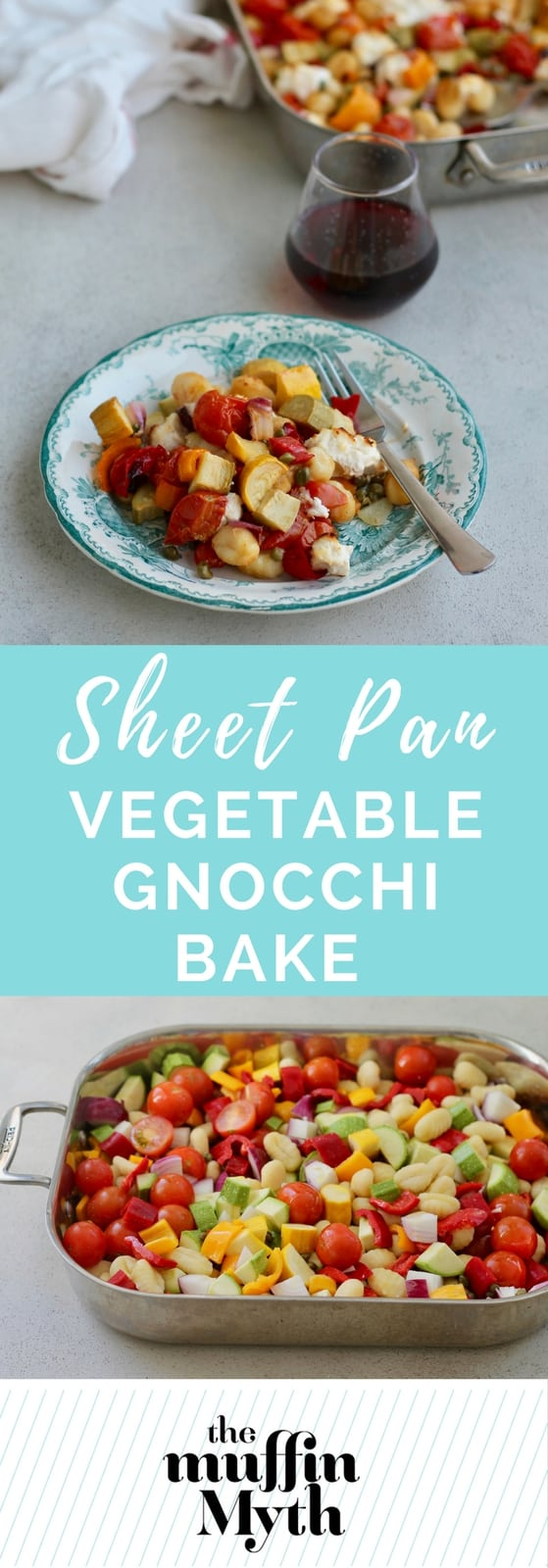One-Pan Vegetable Gnocchi Bake - a vegetarian sheet pan dinner with zucchini, tomatoes, peppers, gnocchi, and ricotta.