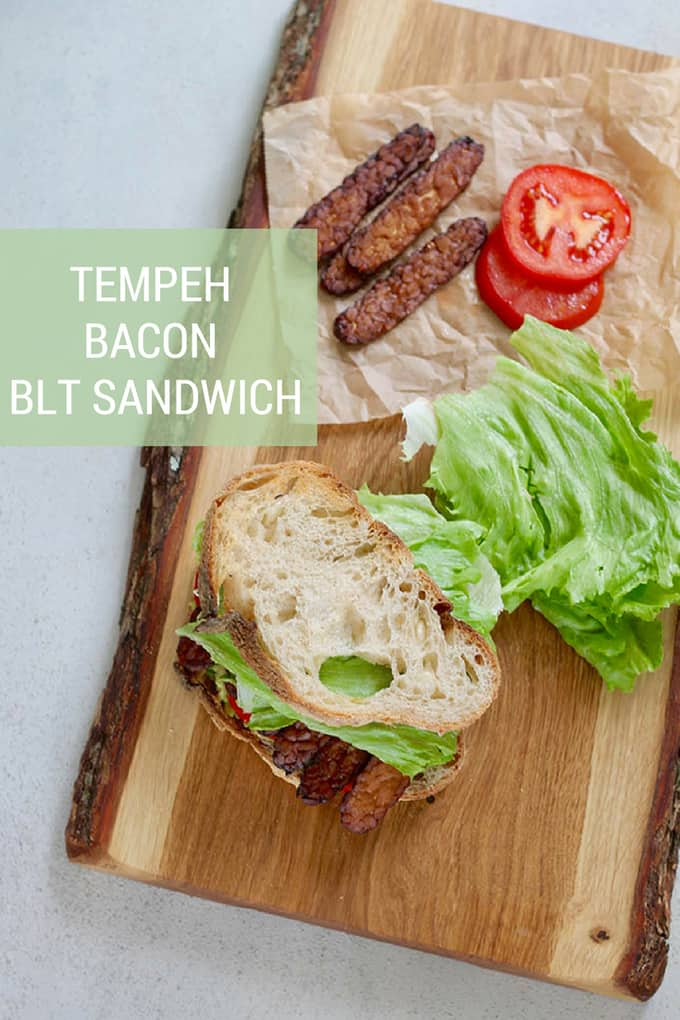 Tempeh Bacon BLT Sandwiches! If you're looking for a crunchy, crispy, plant-based BLT sandwich, this is it! Homemade smoky tempeh bacon is paired with lettuce, tomato, avocado, and toasted sourdough for the vegan BLT sandwich of your dreams! #tempeh #bacon #plantbased #BLT #BLAT #vegan #vegetarian #recipe #sandwich