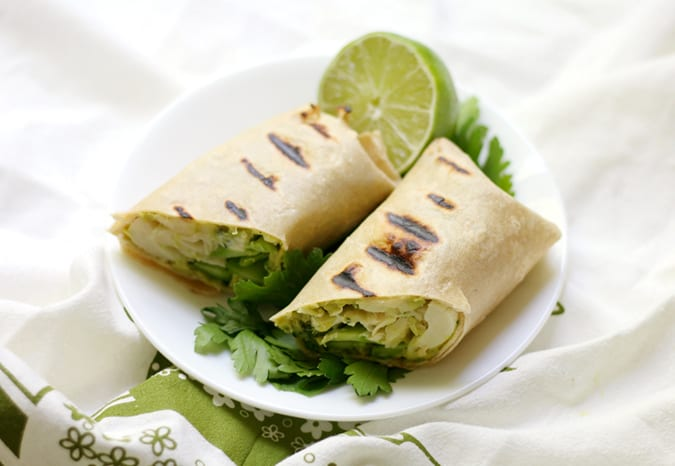 22 vegetarian lunch box ideas - grilled green goddess wraps
