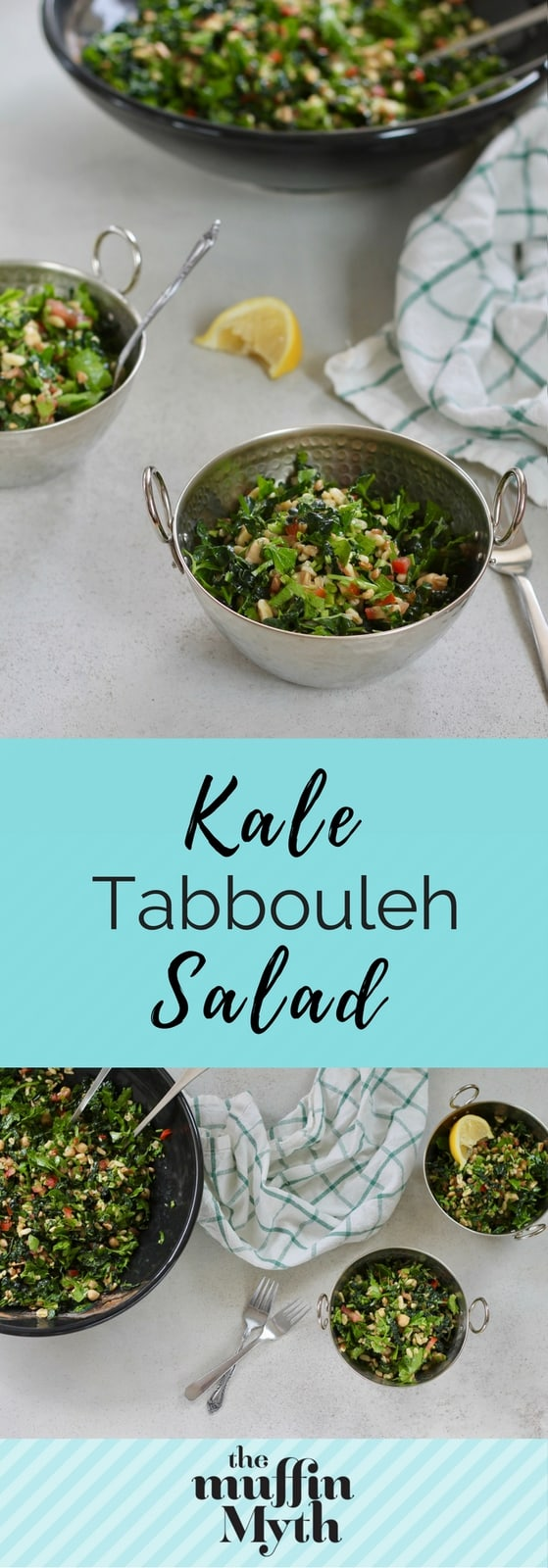 This Kale Tabbouleh Salad is a totally untraditional riff on tabbouleh, plumped up with kale, chickpeas, and kamut for a hearty and filling salad // www.heynutritionlady.com