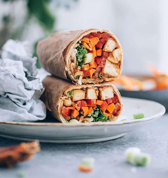 ginger peanut tofu wraps for veganuary recipes