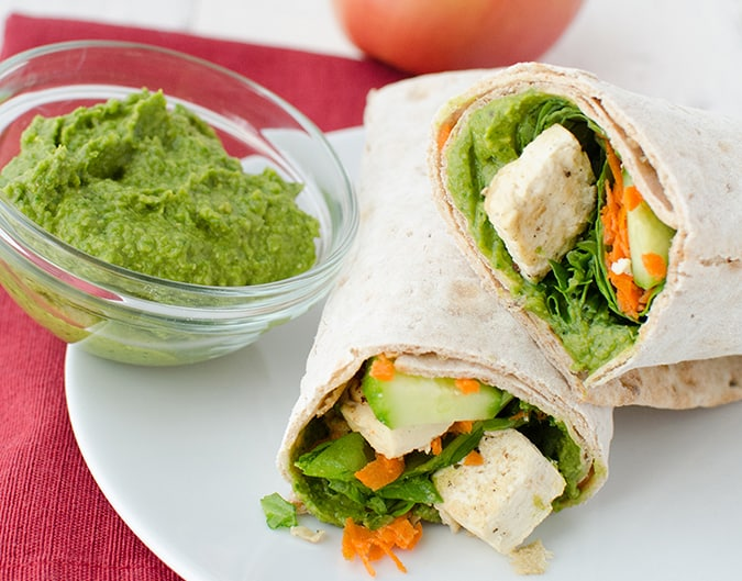 22 vegetarian lunch box ideas - spinach hummus wraps