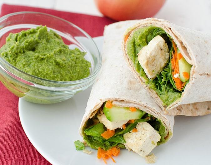 22 vegetarian lunch box ideas - spinach hummus wraps // themuffinmyth.com