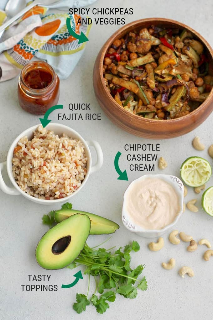 ingredients for vegan fajita bowls with text overlay explaining each ingredient
