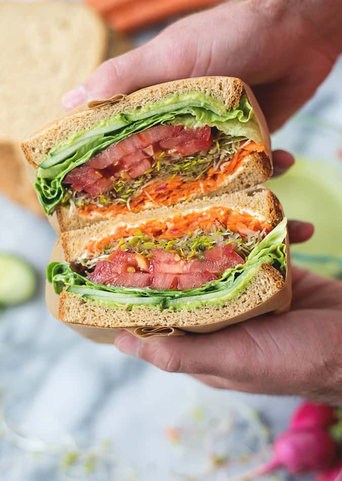 22 vegetarian lunch box ideas - green goddess veggie sandwich