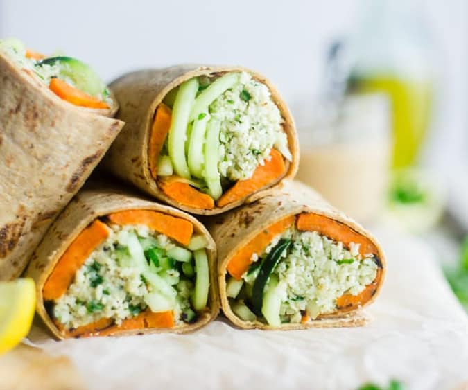 22 vegetarian lunch box ideas - mint grilled sweet potato wraps