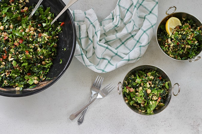 Kale Tabbouleh Salad with chickpeas and kamut // themuffinmyth.com