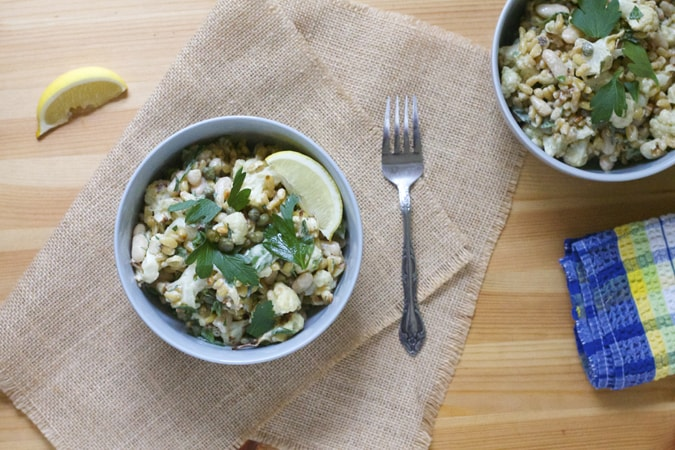 more vegetarian lunch ideas: roasted cauliflower and white bean salad