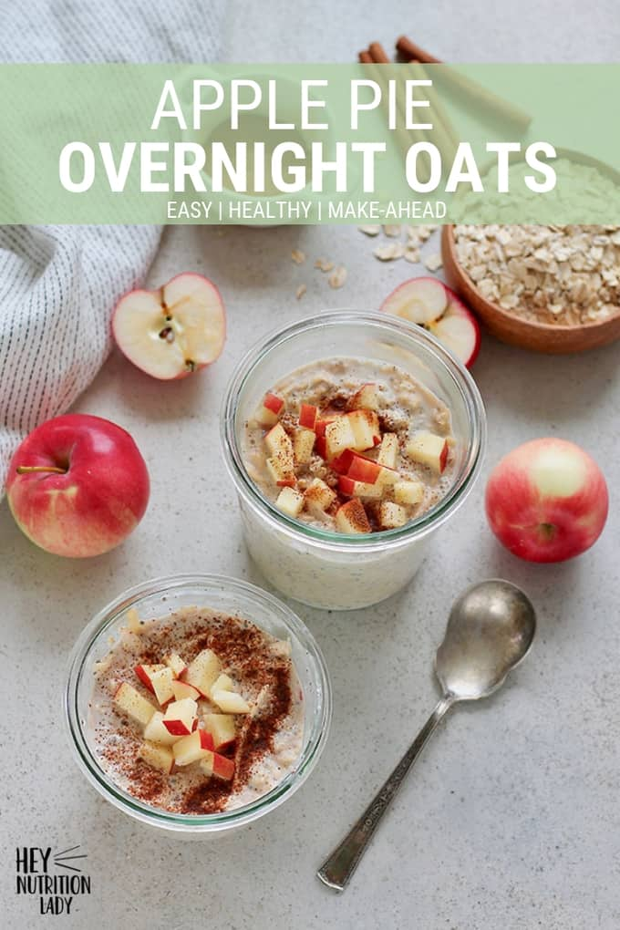 Make these easy apple overnight oats and your breakfast will be a cinch! This healthy and gut-friendly recipe uses yoghurt for a light fermentation of the oats, and cinnamon for incredible flavour. #breakfast #oats #overnightoats #easy #recipe #healthy #apples #yoghurt #chia #glutenfree