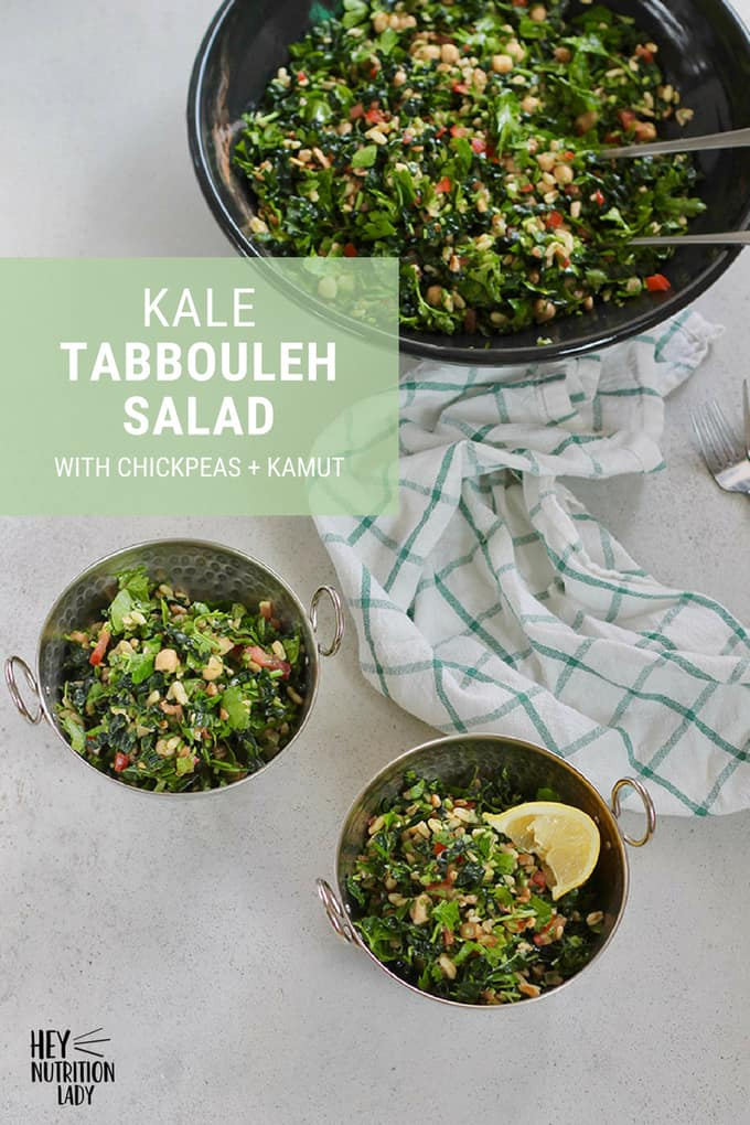 This Kale Tabbouleh Salad is a healthy riff on authentic tabbouleh, plumped up with kale, packed with protein thanks to chickpeas, and with toothsome kamut for a hearty and filling vegan salad that's a meal in of itself. #salad #kale #vegetarian #tabbouleh #kalesalad #vegan #chickpeas #protein #recipe #easy #healthy