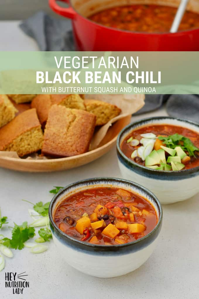 This Vegetarian Black Bean Chili features butternut squash, quinoa and smoky chipotle peppers. For a healthy vegetarian chili packed with protein and fall flavours, you can't beat this easy recipe! #vegetarian #chili #vegan #glutenfree #beans #spicy #butternutsquash #recipe #healthy #easy