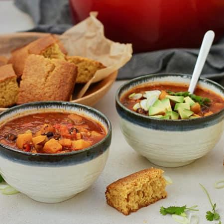 Butternut Squash and Black Bean Chili with Quinoa and Whole Wheat Honey Corn Bread // www.heynutritionlady.com