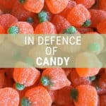 "pumpkin candies with text that reads ""in defence of candy"""