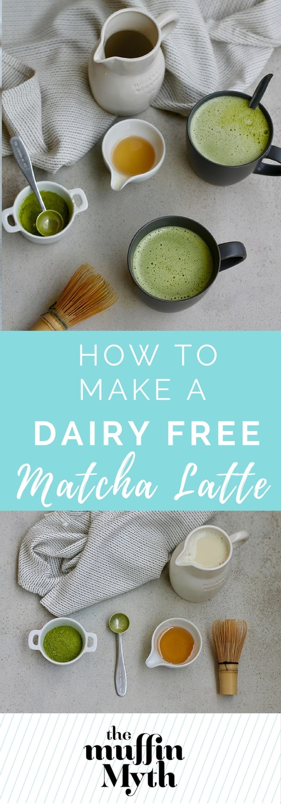 Learn how to make a dairy-free matcha latte at home with oat milk and honey. Simple to make and delicious! // themuffinmyth.com