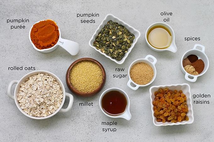 healthy pumpkin granola with millet and golden raisins // themuffinmyth.com