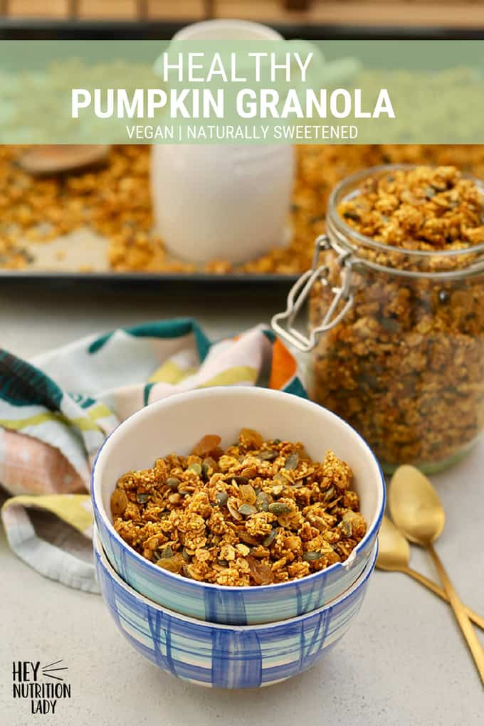 This Healthy Pumpkin Granola recipe combines warm fall spices with real pumpkin, crunchy millet, and golden raisins for a delicious homemade granola the whole family will love. It's totally vegan, naturally sweetened, and easy to make. #pumpkin #pumpkinspice #granola #homemade #recipe #millet #oats #vegan #easy #healthy