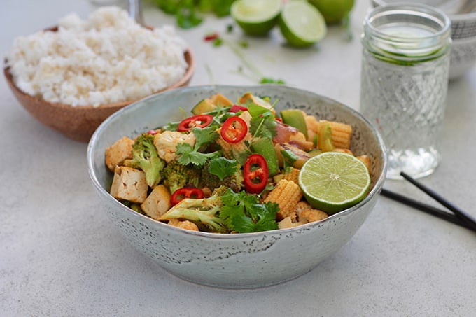 Red Curry Coconut Stir Fry With Tofu and Vegetables