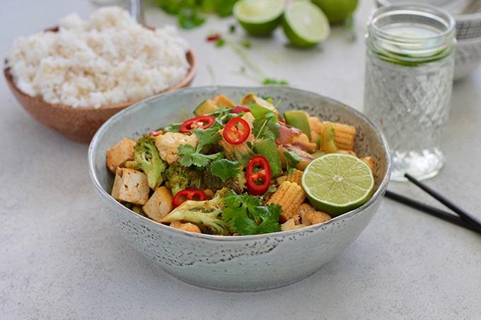 Red Curry Coconut Stir Fry with Tofu and Veggies // www.heynutritionlady.com