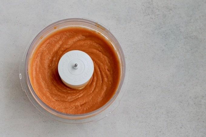chai spiced sweet potato puree in a food processor