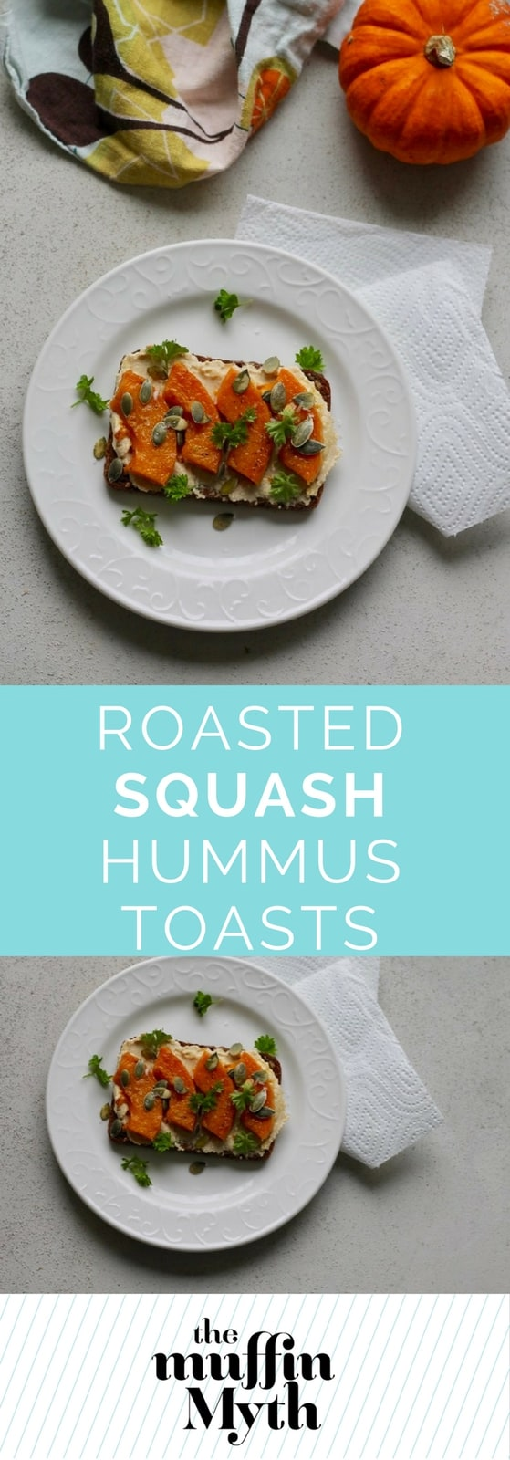 Roasted Squash Hummus Toasts! Butternut squash, hummus, and toasted pumpkin seeds are layered onto rye toast for a simple lunch or snack.