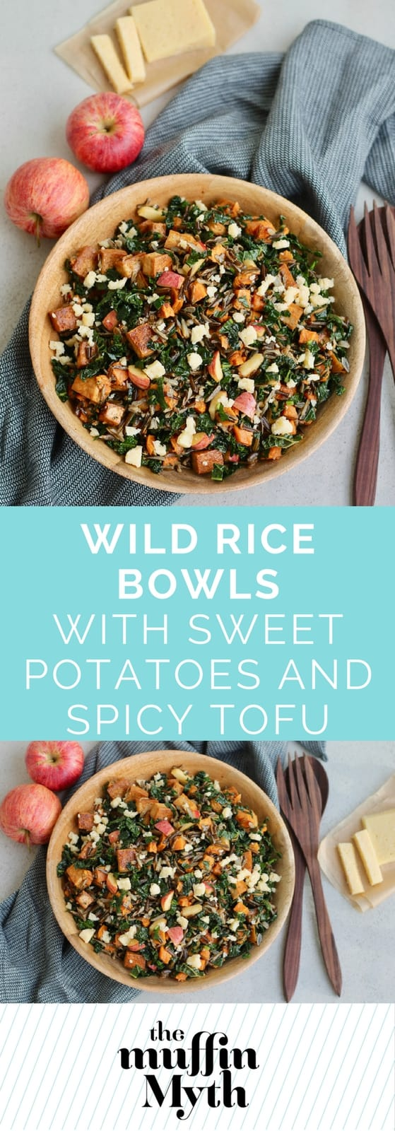 Flavour packed wild rice bowls with roasted sweet potatoes, spicy marinated tofu, lacinato kale, crisp apple, and crumbles of sharp cheese. A great make-ahead meal or holiday side dish. #vegetarian #wildrice #glutenfree