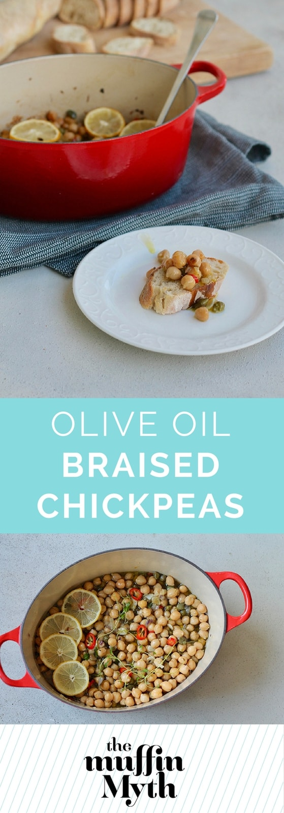 Olive Oil Braised Chickpeas are an incredibly simple, elegant, and delicious appetizer. Easily vegan, or fancied up with a bit of cheese over the top.