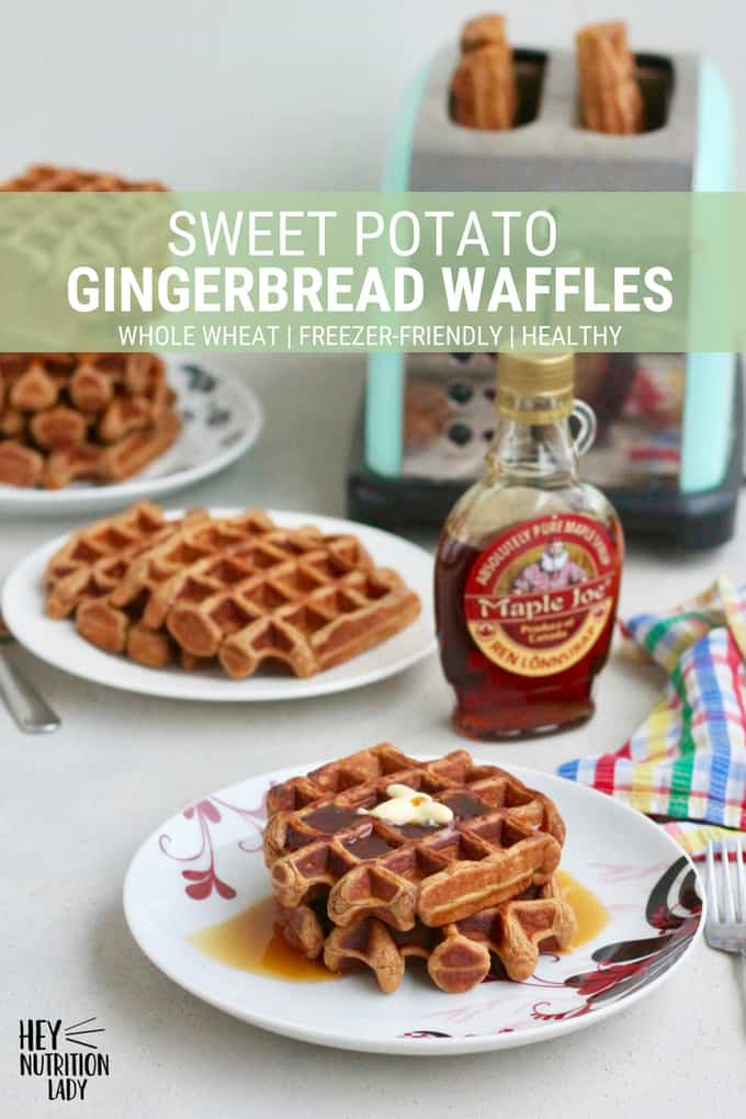 Sweet Potato Gingerbread Waffles made with whole wheat flour and scented with festive spices. This easy recipe makes perfect healthy freezer waffles that you can simply pop in the toaster when you're in the mood for waffles. #breakfast #brunch #recipe #easy #healthy #waffles #wholewheat #sweetpotato #gingerbread #freezer #makeahead