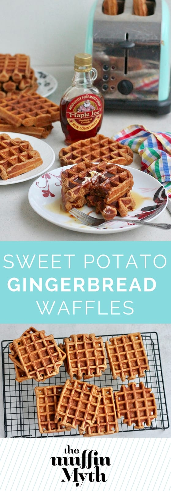 Sweet Potato Gingerbread Waffles made with whole wheat flour, buttermilk, molasses, and scented with festive spices. These make perfect freezer waffles that you can simply pop in the toaster when you're in the mood for waffles.  #waffles #breakfast #gingerbread #healthy #wholewheat #makeahead #sweetpotato