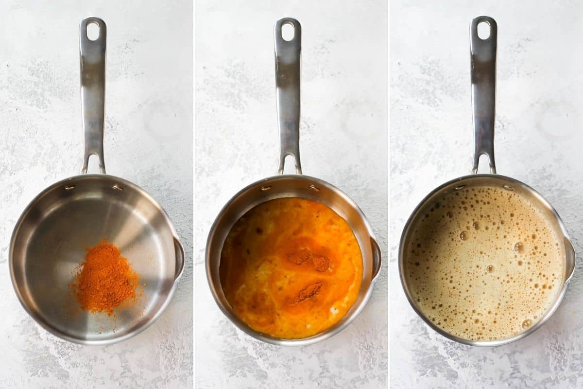 photo collage of a turmeric latte being made in a metal pot