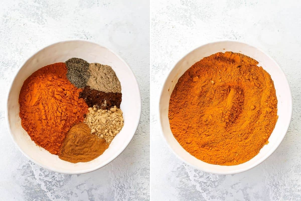 photo collage of turmeric latte mix being mixed in a white bowl