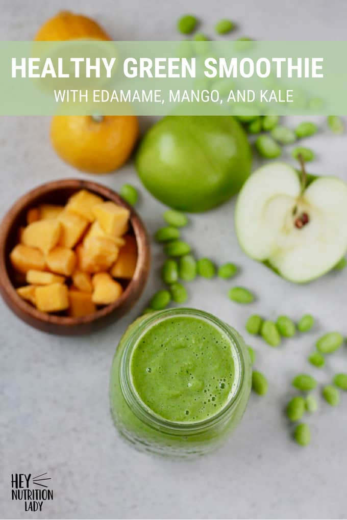 A protein-packed green smoothie recipe with edamame, mango, kale, green apple, cauliflower, lemon, and ginger to put some zing into your morning routine! This makes an easy, healthy breakfast, and is totally vegan too! #smoothie #greensmoothie #vegan #plantbased #protein #recipe #healthy #easy #breakfast