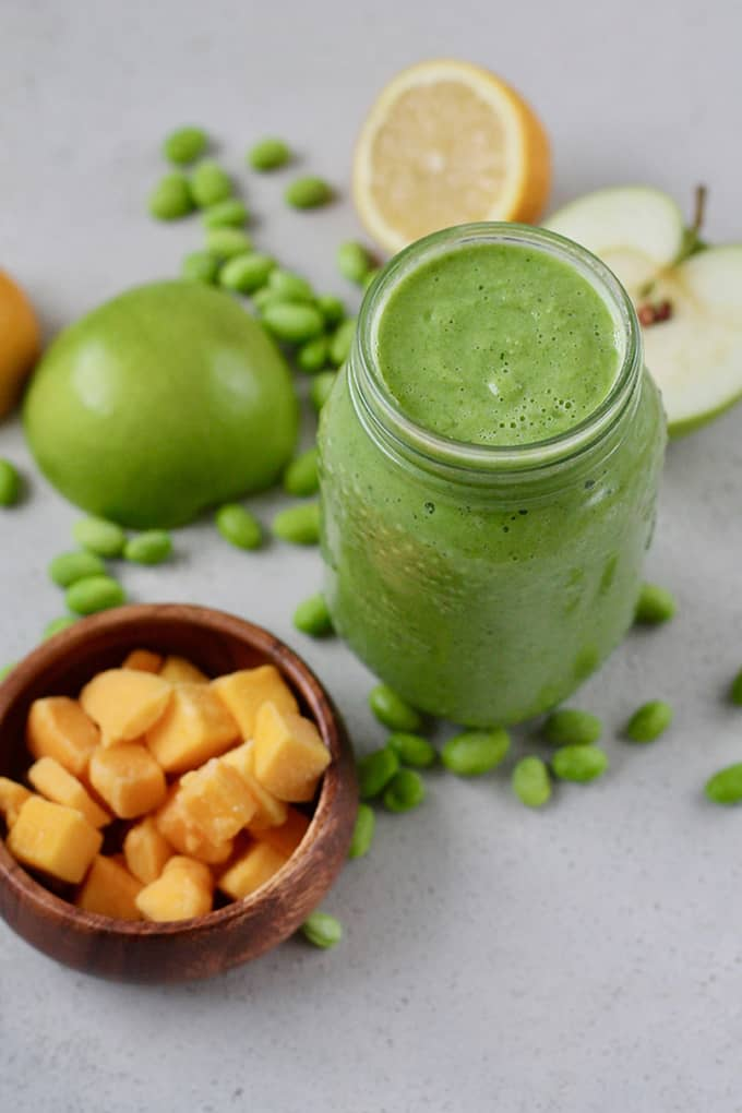 green smoothie with mango, green apple, and edamame